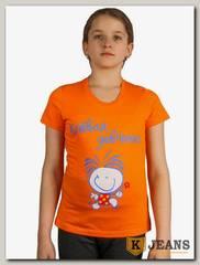"""Футболка подростковая для девочки с принтом """"Клевая девчонка"""" оранжевый"""