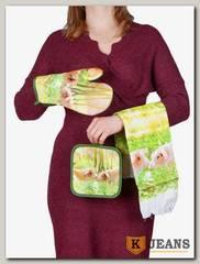 Комплект подарочный полотенце/прихватка/рукавица НКП-008-10