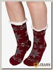 Носки-тапочки женские меховые D-06-4