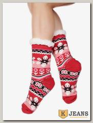 Носки-тапочки женские меховые D-01-2