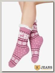 Носки-тапочки женские меховые D-04-3