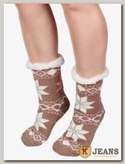 Носки-тапочки женские меховые D-06-2
