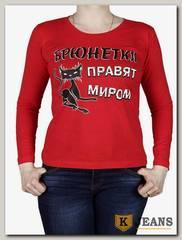 """Лонгслив женский принт """"Брюнетки правят миром"""" красный"""