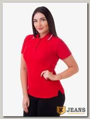 """Рубашка поло женская Мос Ян Текс цвет """"Красный"""" с белой полосой"""
