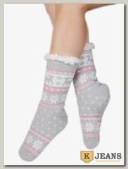 Носки-тапочки женские меховые D-04-1