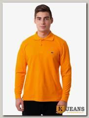 Рубашка поло мужская с вышивкой цвет оранжевый д/р