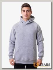 Толстовка-кенгуру (зима) серый меланж