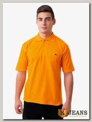 Рубашка поло мужская с вышивкой цвет оранжевый