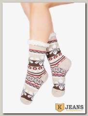 Носки-тапочки женские меховые D-01-4