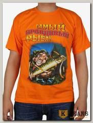 """Футболка мужская принт """"Самый правдивый рыбак.."""" оранжевый"""