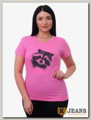 """Футболка женская принт """"Енот"""" 61-1 розовый"""