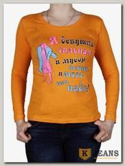 """Лонгслив женский принт """"Я девушка сильная"""" оранжевый"""