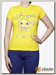 """Футболка подростковая для девочки с принтом """"Я просто солнышко"""" лимон"""