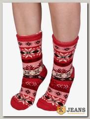Носки-тапочки женские меховые D-03-2