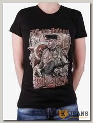 """Футболка женская принт """"Солдат с пулеметом"""" оригинал черный"""