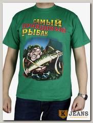 """Футболка мужская принт """"Самый правдивый рыбак.."""" зеленый"""